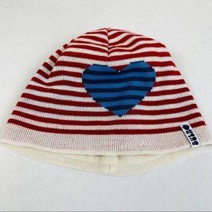 Bula Wool Blend Striped Heart Beanie OS